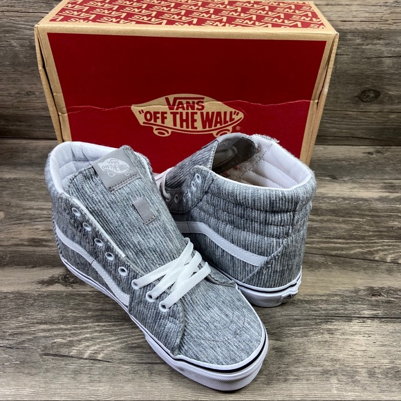 Vans Shoes - New Vans Sk8-Hi Rib Knit Gray & White Sneakers